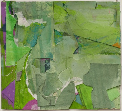 02_Little Green, 2015, Collage, 4 x 3.5 in""