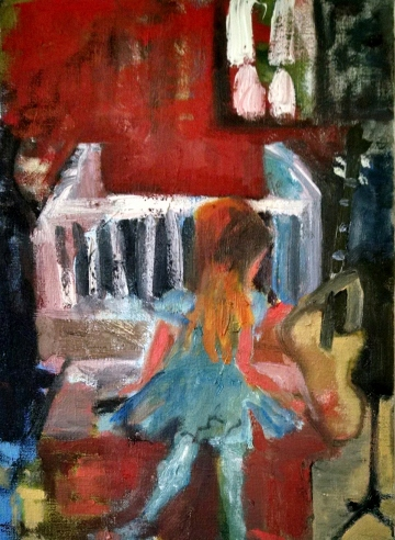 Blue Fairy in the Attic, oil on linen, 9 x 12, 2015