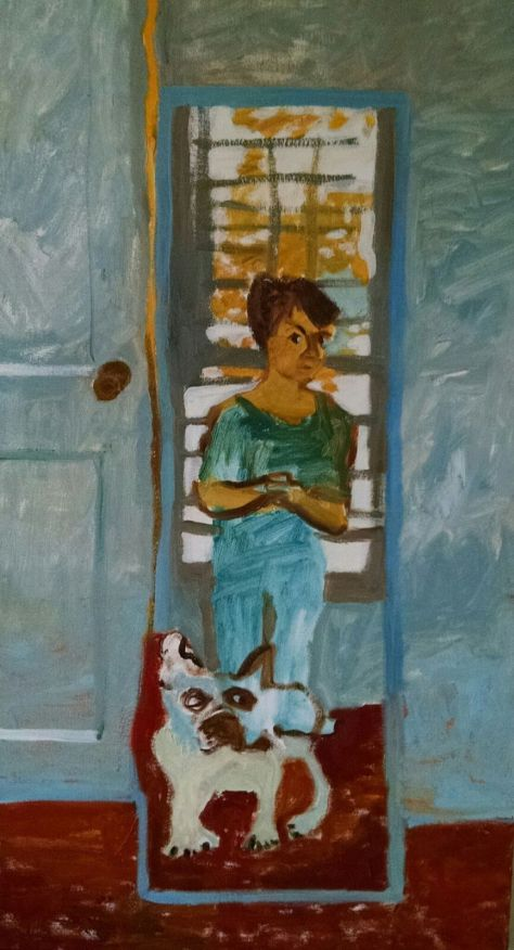 Louie and Me Ready to Go, oil on canvas, 18 x 48, 2015 (1)