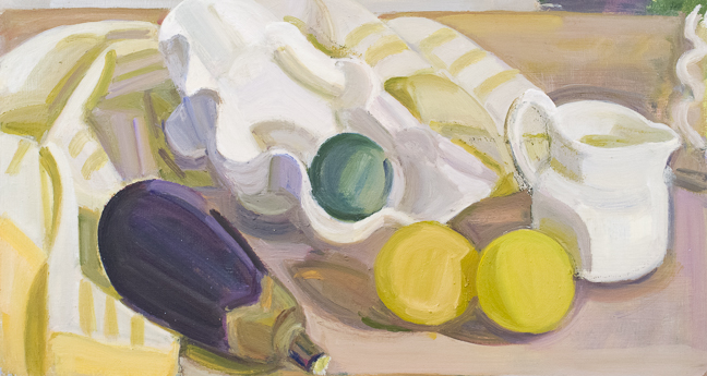 Kotula_Eggplant, Shell, Lime and Lemons with Small Creamer, o-panel, 10- x 18-, 2018