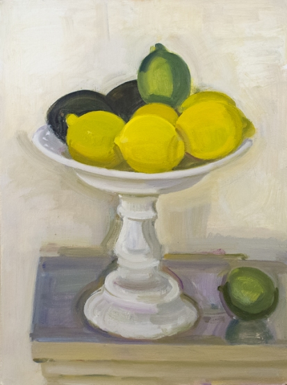 Kotula_Lemons, Lime, Avocado-Milk Glass Cake Stand, oil on panel, 16- x 12-, 2017