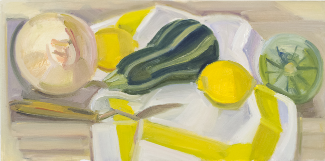 Kotula_Tiger Squash, Onion and Striped Napkin with Palette Knife, o-panel, 8-x16-